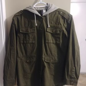 Divided H&M Green Jacket Grey Hood Size US 4